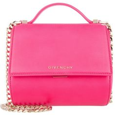 Givenchy Shoulder Bag - Pandora Box Crossbody Bag Small Neon Pink - in... (40.120 CZK) ❤ liked on Polyvore featuring bags, handbags, shoulder bags, rose, crossbody purses, shoulder strap handbags, man bag, leather cross body purse and leather shoulder bag