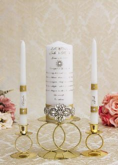 Gold Wedding Unity Candles Set, Personalized Wedding Candles, Gold Wedding Candles Set, Personalized Unity Candle Set Jewel Colors, Ribbon Colors, Wedding Unity Candles, Pillar Candles, Gold Wedding, Wedding Ceremony, Communion, Rose Gold Color, Silver Color