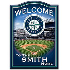 MLB-Licensed Seattle Mariners Personalized Wooden Welcome Sign Featuring Safeco Field