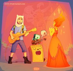 Adventure time Finn, Flame Princess, Jake, BMO, Marceline, and Princess Bubblegum