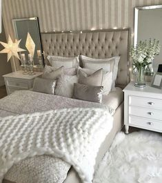 Bedrooms, master room, bedroom decor glam, bedroom themes, bedroom co Grey Bedroom Decor, Glam Bedroom, Bedroom Colors, Home Bedroom, Bedroom Ideas, Master Bedroom, Taupe Bedroom, Stylish Bedroom, Ikea Bedroom