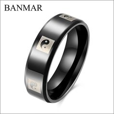 BANMAR Black Wedding Bands for Men High Quality Chinese Tai Ji Pattern 316L Titanium Steel 6MM Band Engagement Finger Rings  #Affiliate