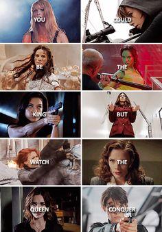 Pepper, Skye, Lady Sif, Gamora, Agent Melinda Mei, Agent Bobbi Morse aka Mockingbird, Natasha Romanoff aka Black Widow, Agent Peggy Carter, Agent Jemma Simmons, Agent Maria Hill. Love the ladies, Marvel!