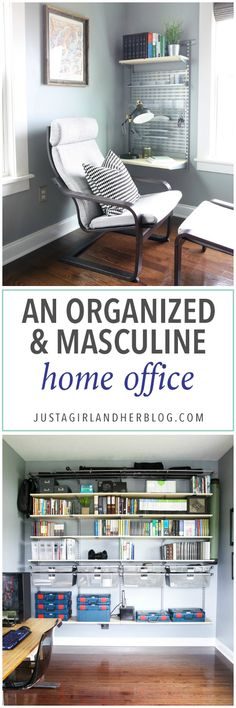 Home Organization- Organized and Masculine Home Office Reveal, man cave, office organization, The Container Store, Elfa, built in shelves, POANG, IKEA, standing desk, window trim, manly office, room makeover, room reveal, Elfa sand and platinum shelving, masculine office space, before and after transformation