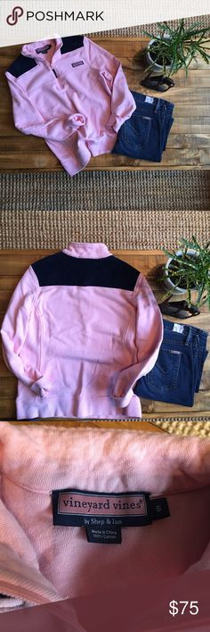 **Pink & Navy Vineyard Vines Shep Shirt Pullover** Lightly worn shep shirt from Vineyard VInes. The top is navy blue corduroy. No stains.  Size: Small Vineyard Vines Tops Sweatshirts & Hoodies