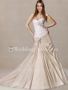 Taffeta Asymmetrical Pleated Wedding Dress DE358                  pin it if you like it .