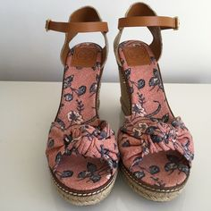 """TORY BURCH MACY WEDGE ESPADRILLES FLORAL PRINT TORY BURCH MACY WEDGE ESPADRILLES FLORAL PRINT SANDAL, SIZE 10, HEIGHT HEEL 4.5"""", PLATFORM 1"""", BRAND NEW WITH BOX AND DUST BAG Tory Burch Shoes Platforms"""