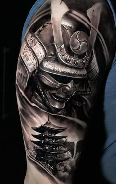 Samurai Tattoo Sleeve, Samurai Warrior Tattoo, Warrior Tattoos, Arm Sleeve Tattoos, Tattoo Sleeve Designs, Hannya Mask Tattoo, Hanya Tattoo, Yakuza Tattoo, Japanese Tattoo Art