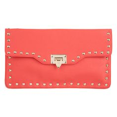 Miss Co Studded Flip Lock Clutch ($31) ❤ liked on Polyvore