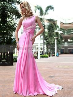 Rhinestone One Shoulder Full Length Prom Dress with Draping Detail