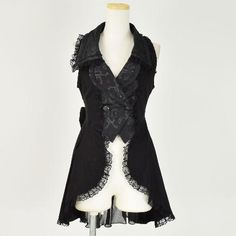 h. Naoto FRILL ゴステーラードロングベスト - Goth Tailored Long Vest