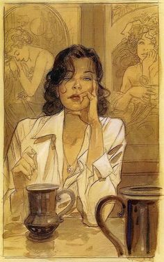 Jean Pierre Gibrat / the Alphonse Mucha counterpart of the main character is subtle and perfect