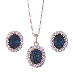 Galaxy Fashion JewelleryTM 18ct Rose Gold Finish Jewellery Set with Swarovski Sapphire Blue Crystal - Ideal Gift for Women and  This majestic set sparkles beautifully with created Swarovski Sapphire crystal. It includes a pair of pierced earrings and a pendant on a chain, all in 18ct gold plated m (Barcode EAN = 0796401212721)…