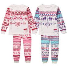New Children Autumn Winter Clothes Set Kids Girl Boys Christmas Gifts Sleepwear Nightwear Pajamas Set Outfits Clothes(China (Mainland))
