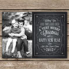 Christmas Chalkboard - DIGITAL Custom Christmas Holiday Photo Card. $15.00, via Etsy.