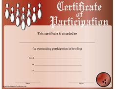 Free printable bowling certificates bowling awards bowling this certificate of participation in bowling is appropriate for a solo bowler or an entire team yadclub Image collections