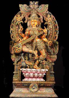 Large wood statue of Goddess Saraswathi  dancing
