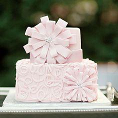 Small Pink Wedding Cake | Tiny rhinestones adorn the modern floral cake.
