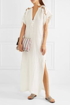 Marysia - Nantucket Lace-up Cotton Dress - Cream - x small