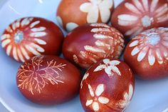Boiled onion skins and nature walk stencils made stunning, non-toxic, old fashioned Easter eggs!