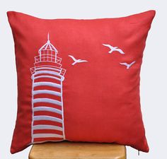 Lighthouse Pillow Cover,  Decorative Pillow, Couch Pillow, Accent Pillow, Red…