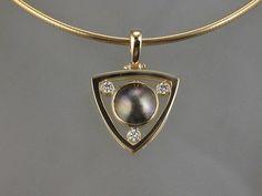 Rare Tahitian Mabe Pearl, 18 Karat Gold, Diamonds! Artist: Karen Keit