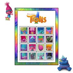 Trolls Movie Birthday Party Bingo Game plus Matching Game  - 30 BINGO Cards  -  INSTANT DOWNLOAD by ChamPartyPerfect on Etsy https://www.etsy.com/listing/469535704/trolls-movie-birthday-party-bingo-game
