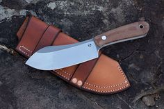 Nessmuk in Natural Canvas Micarta with Dual-Carry leather sheath