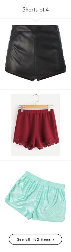 """""""Shorts pt.4"""" by hotlinejenn ❤ liked on Polyvore featuring shorts, bottoms, short, black, leather shorts, highwaist shorts, high waisted leather shorts, la perla, short shorts and burgundy"""