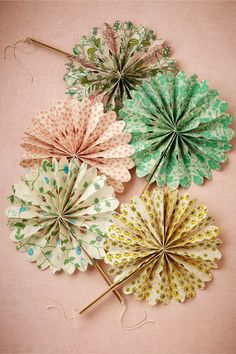 Flora Crinkle Fans (10) in Décor Decorations at BHLDN