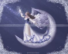 Catch A Falling Star--crescent moon angel is a brunette, full of hope in the blue, celestial sky.  Painted in hues of blue and white, stars sparkle in the background in this spiritual, religious and fantasy art.