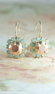rose gold and seafoam earrings | crystal earrings | seafoam wedding | aqua rose gold wedding | www.endorajewellery.etsy.com