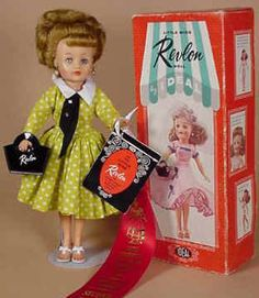 Little Miss Revlon was a competitive doll to Barbie.  She has a more natural shape and that seems to have made her less popular than Barbie.  I still have my Little Miss Revlon, but I did not have a Barbie.