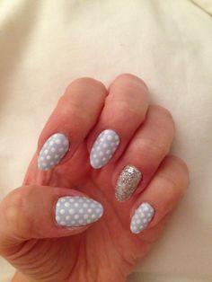 Polka dot nail art with a little sparkle!