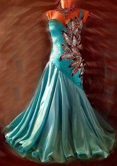 U5192 Elegant Women Ballroom tango salsa waltz foxstep standard dance dress US 4 #seahunter