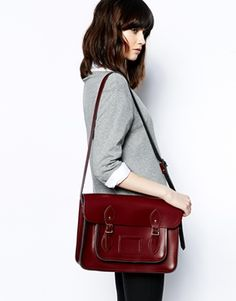 "Enlarge Cambridge Satchel Company 14"" Leather Satchel in Oxblood"