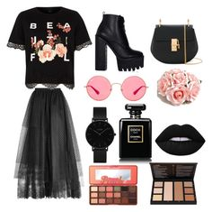 """Untitled #10"" by lacheoana on Polyvore featuring Elie Saab, River Island, Chloé, Ray-Ban, ASOS, CLUSE, Chanel, Too Faced Cosmetics and Lime Crime"