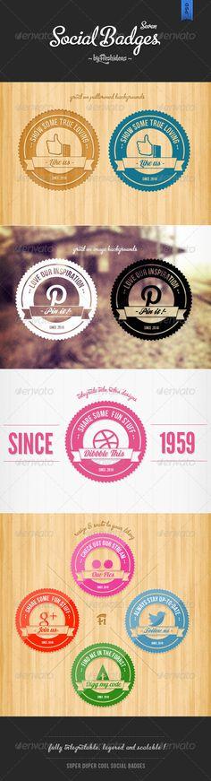 7 Retro Social Badges - Badges & Stickers Web Elements