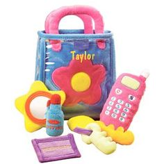 Cute personalized plush toy phone and purse set - great for kids!