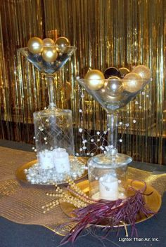Great idea for a Great Gatsby theme! Great Gatsby Prom Theme, Great Gatsby Motto, Great Gatsby Party Decorations, Gatsby Themed Party, Prom Decor, 1920s Theme, Gatsby Wedding, Roaring 20s Party, Roaring Twenties