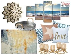 Decorating with Home Goods and Accent Colors - Easy Room Makeover Ideas & Pieces that Go Together Modern Artwork, Modern Wall Art, Apartment Wall Art, Home Goods Decor, Home Decor, Panel Art, Paint Set, Beach Scenes, Wall Art Sets