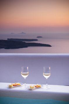 Santorini sunset, wine & volcano