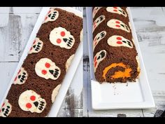 """I made Skull Cake for Halloween. Celebrate Halloween in style with this """"scary"""" cake roll. In this video I show you how to make this fun patterned cake roll...."""