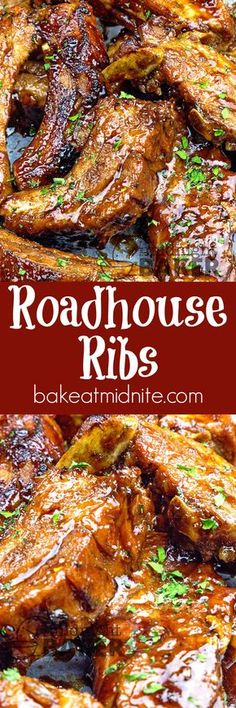 Succulent pork back ribs cooked in beer and coated with a special roadhouse sauce! Guy pleasing food at it's best!!