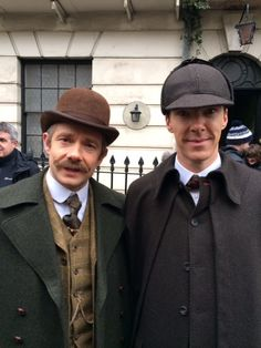 SHERLOCK (BBC) ~ Martin Freeman (John Watson) and Benedict Cumberbatch (Sherlock Holmes) behind-the-scenes on the pre-Season 4 special, SHERLOCK: THE ABOMINABLE BRIDE, which premieres January 1, 2016 on BBC and PBS.