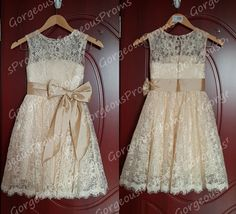 Champagne Lace Flower Girl Dress Champagne Sash by GorgeousProms, $69.99~ Super CUTE IF IT WERE A HI-LO!