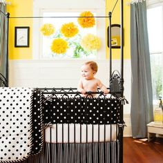Black and White Dots and Stripes Crib Bedding Collection by Carousel Designs contemporary kids