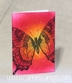 Swallowtail note card. Just ink, paper, water and a stamp! By Carrie Rhoades.