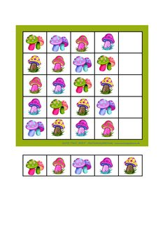 Simple sudoku mushrooms - finish the empty row with the tiles below Illustrations from fotki.yandex.ru