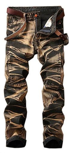 Ameyda Men's Stylish Camouflage Joggers Jeans Biker Denim Pants Trousers